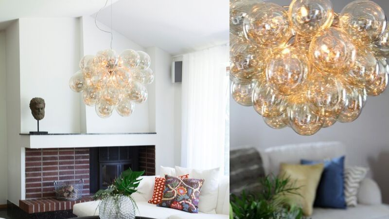 Store glasslamper med mange glasskuler
