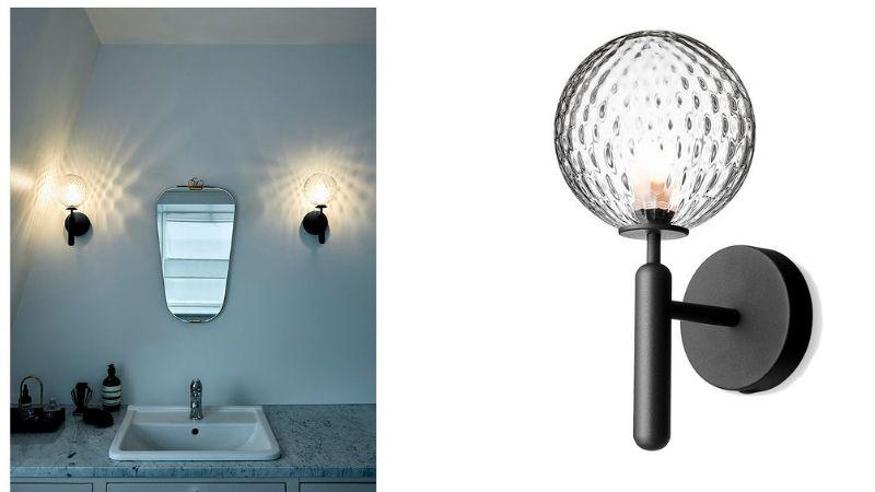 Placering af spotlights og lampe i badeværelset