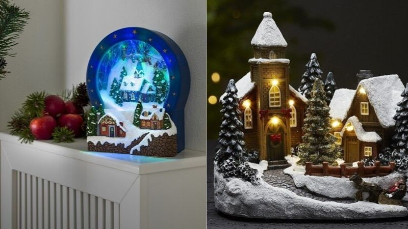 juleby dekorasjon med bevegelse, lys og musikk