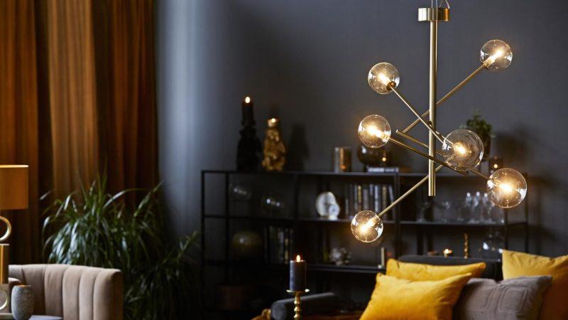 Luksuriøs Takpendel i Glass og Matt Messing