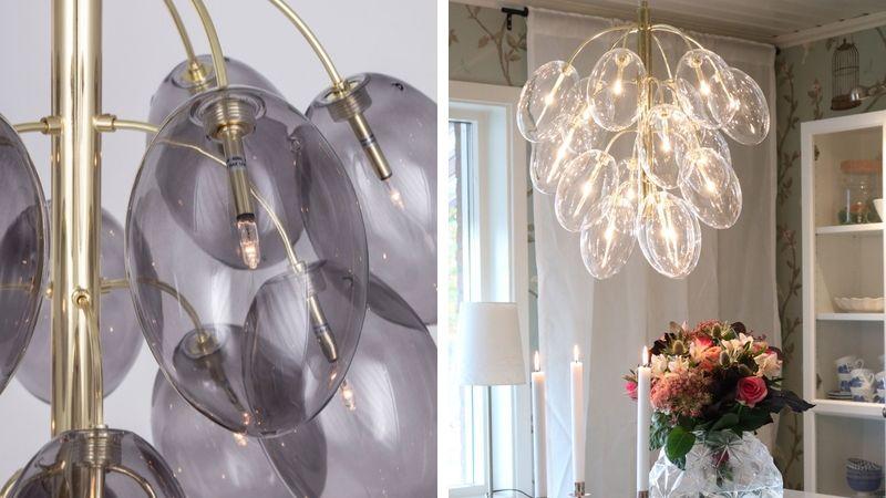 Globen Drops: Dekorativ Lampe med Hengende Glasskuler