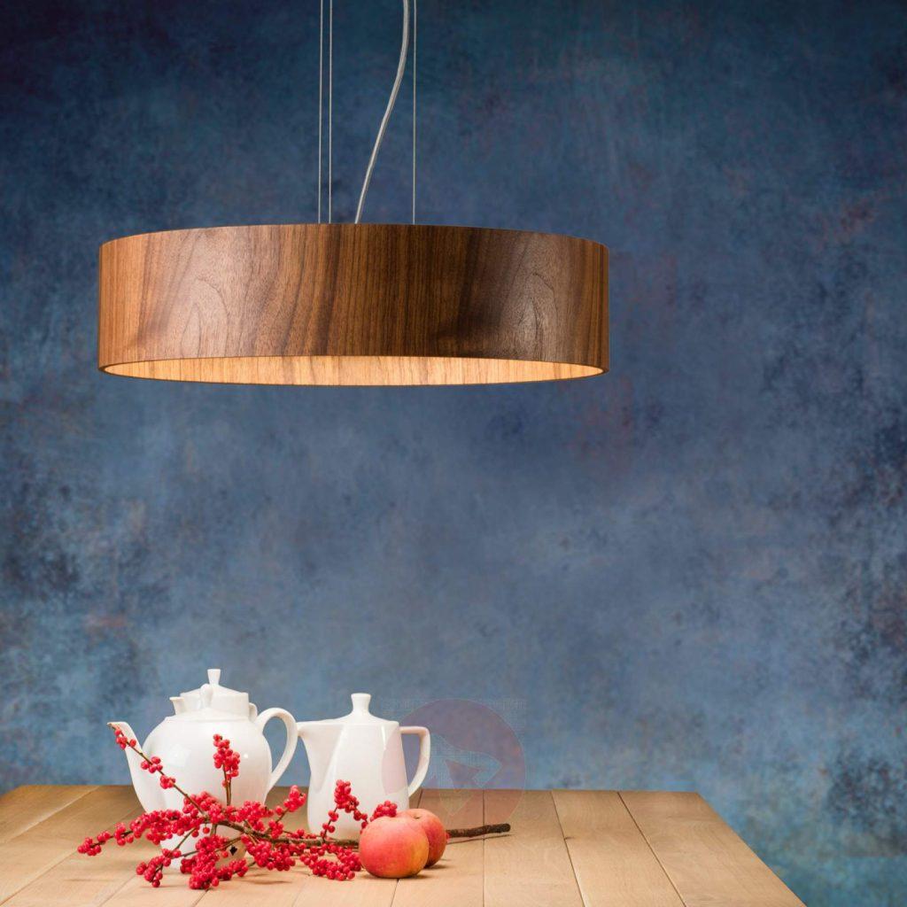 Moderne & Elegant Håndlaget Pendellampe av mørkt treverk