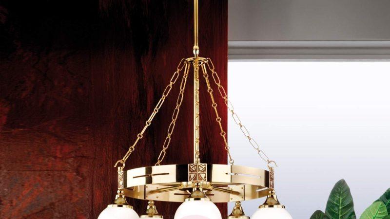 Luksuriøs Takpendel i Glass og Skinnende Messing – Eleganzia